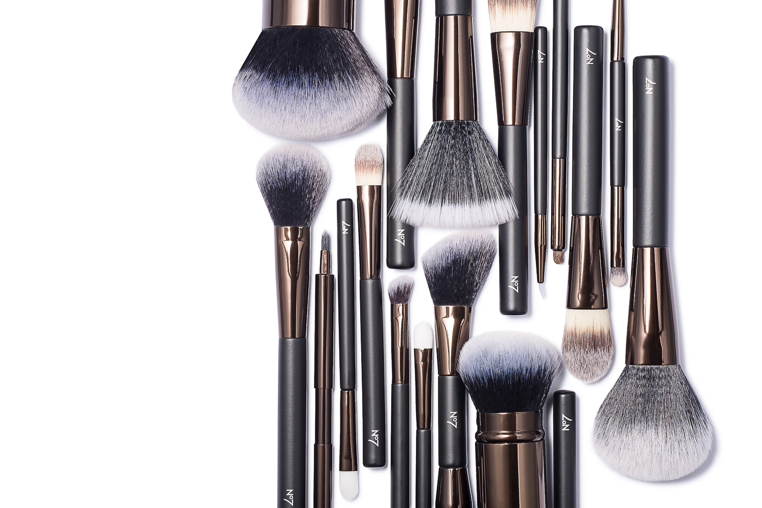 Isometric flat lay image of No7 make up brushes