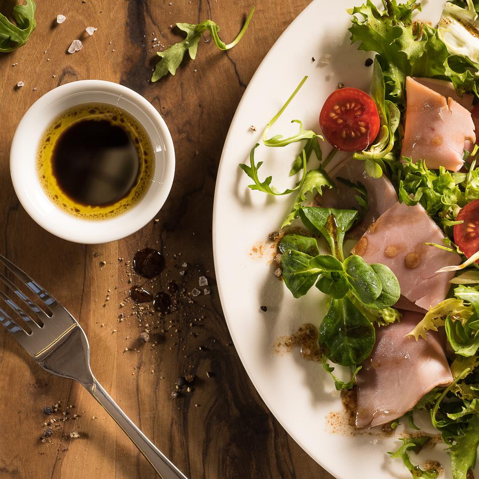 fresh ham salad and balsamic dressing