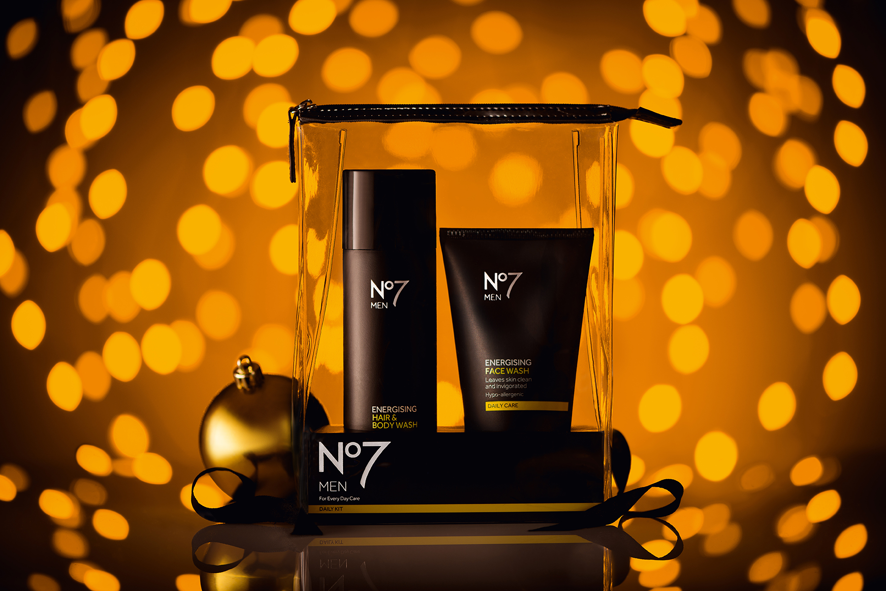 Creative cosmetic photography of No7 Christmas gift set