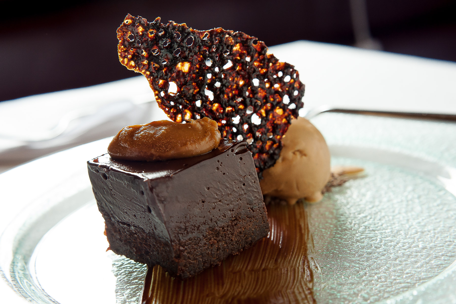 Double chocolate torte with caramalised crisp and toffee ice cream