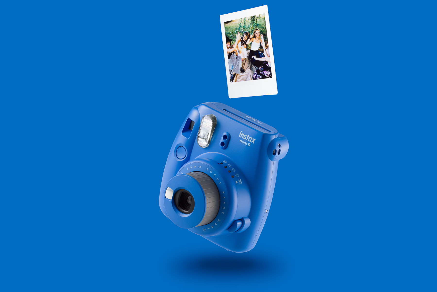 Blue mini 9 product photography on a matching blue background